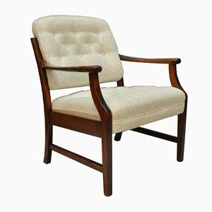 Danish Teak Chair with Beige Fabric, 1960s