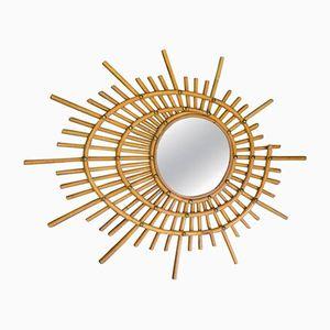 Italian Spiraling Wicker Mirror, 1960s