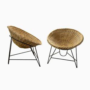 Korbgeflecht Stühle von Janine Abraham. 1960er, 2er Set