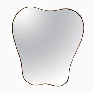 Italian Free-Form Brass Mirror, 1960s
