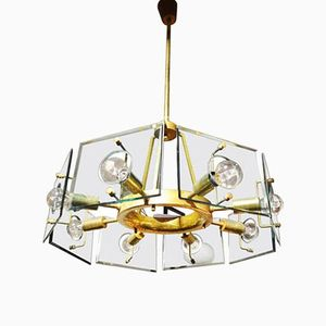 Vintage Crystal Art Lampe von Gino Paroldo für Fontana Arte, 1950er