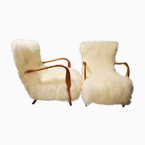 Vintage Italian Tibetan Lamb Fur Armchairs, 1960s, Set of 2