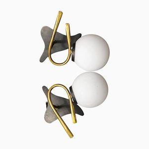 Italienische Opalglas Wandleuchten von Stilnovo, 1960er, 2er Set