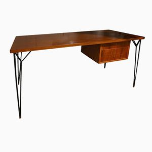 Italian Wood and Steel Desk, 1960s