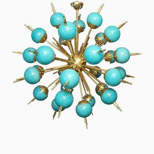 Brass Sputnik Chandelier with Blue Glass Globes, 1970s