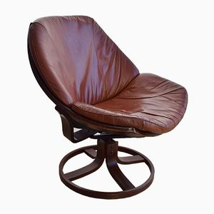 Danish Tan Leather Swivel Chair, 1960s