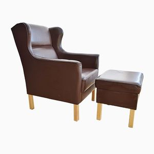 Danish Brown Leather Armchair & Footstool, 1970s