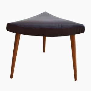 Mid-Century Danish Triangular Brown Leather Footstool