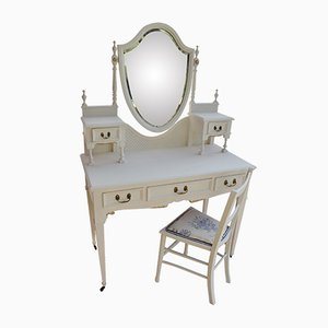 Edwardian Hand-Painted Five-Drawer Dressing Table & Chair, 1900s