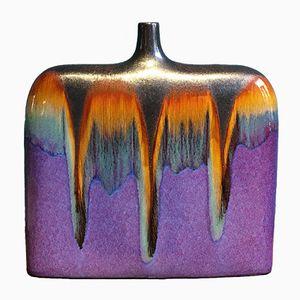 Grand Vase Mid-Century en Céramique avec Verni Multicolore