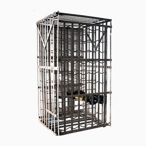Large French Cast Iron Wine Rack, 1920s