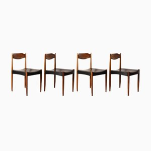 Skandinavische Esszimmerstühle aus Massivem Teakholz, 4er Set