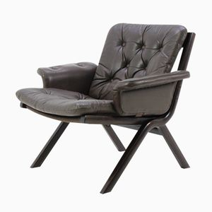Danish Mid-Century Bentwood Armchair in Leather, 1960s