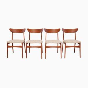 Dänische Mid-Century Esszimmerstühle aus Teak & Wolle von Schiønning & Elgaard, 1960er, 4er Set