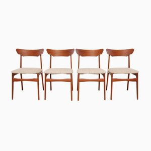 Mid-Century Danish Teak and Wool Dining Chairs from Schiønning & Elgaard, 1960s, Set of 4