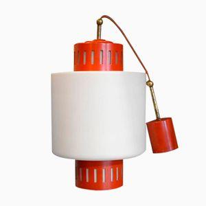 Rote Italienische Mid-Century Stilnovo Hängelampe, 1960er