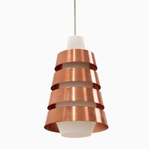 Mid-Century Copper and Opaline Glass Ceiling Pendant, 1960s