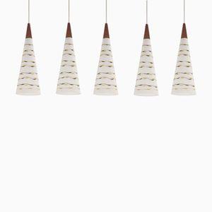 Mid-Century Norwegian Glass Ceiling Pendants from T. Røste & CO, 1960s, Set of 5