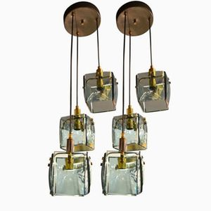 Mid-Century Italian Square Glass Hanging Lamps, 1960s, Set of 2