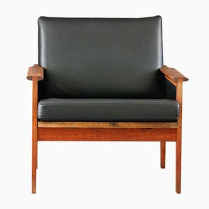 Mid-Century Danish Wood and Black Leather Armchair by Illum Wikkelso for Niels Eilersen, 1960s
