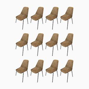 Chaises en Rotin par Carlo Graffi & Franco Campo, 1960s, Set de 12