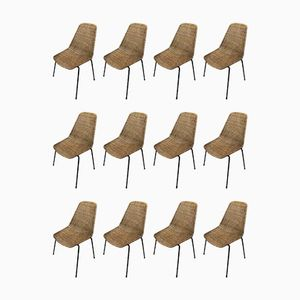 Wicker Chairs by Carlo Graffi & Franco Campo, 1960s, Set of 12