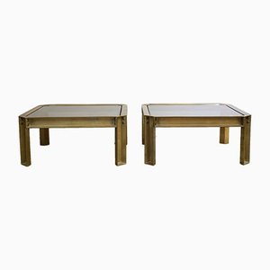 Cast Brass Coffee Tables with Smoked Glass Tops by Peter Ghyczy, 1970s, Set of 2