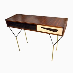 Vintage Italian Console Table with Brass and Steel Legs, 1960s