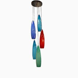 Italienische Murano Glas Hängelampe von Gino Vistosi für Stilnovo, 1960er