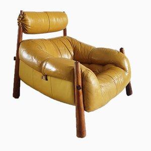 Chaise Lounge Ocre en Cuir Vintage par Percival Lafer pour Lafer, Brésil