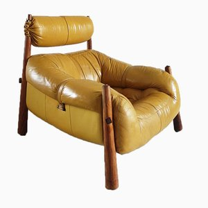 Vintage Brazilian Ocre Leather Lounge Chair by Percival Lafer for Lafer