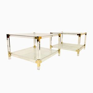 Vintage Two-Tier Lucite Side Tables, Set of 2