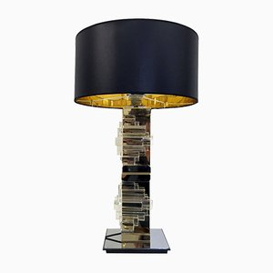 Vintage Brass, Chrome & Glass Table Lamp by Gaetano Sciolari for Sciolari