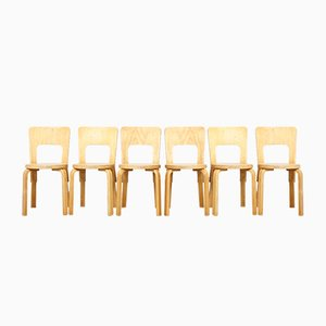 Vintage Model 66 Dining Chairs by Alvar Aalto for Artek, Set of 6