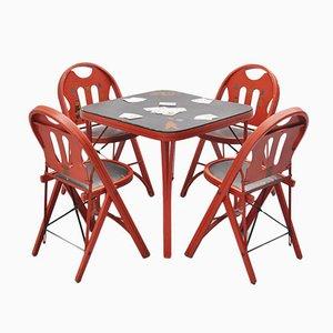 Amerikanischer Klappbarer Spieltisch & Stühle von Louis Rastetter & Sons, 1960er