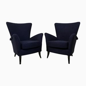 Italian Armchairs in Blue, 1950s, Set of 2