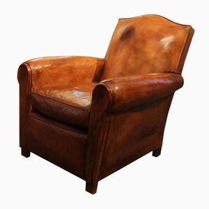 French Brown Leather Club Chair, 1940s