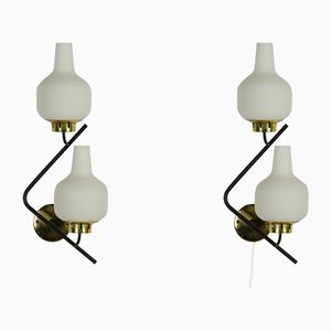 Italian Wall Lamps with Opaline Glass, 1960s, Set of 2