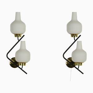 Italienische Opalglas Wandlampen, 1960er, 2er Set