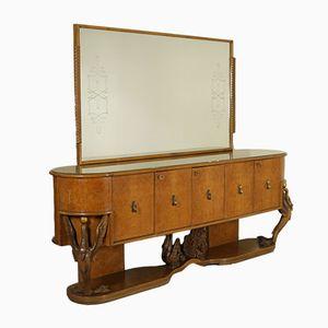 Vintage Sideboard mit Spiegel, 1940er
