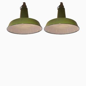 French Industrial Green Pendants, 1950s, Set of 2