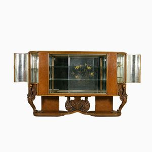 Italian Display Cabinet with Burl Veneer, 1940s
