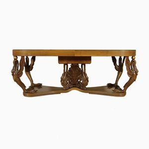 Vintage Tisch mit Wurzelholzfurnier und Geschnitzten Beinen, 1940er