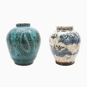 Vases Style Perse en Céramique Antique, Set de 2