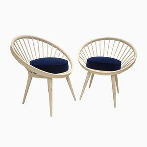 Vintage White Circle Chairs by Yngve Ekström, Set of 2