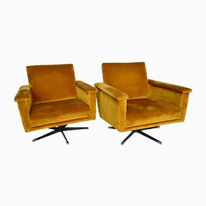 Mid-Century Swiss Swivel Club Chairs in Velvet, 1960s, Set of 2