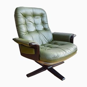 Green Leather Swivel Lounge Chair by Georg Thams for Vejen Polstermøbelfabrik, 1970s