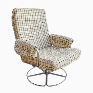 Danish Patterned Wool Swivel Easy Lounge Armchair, 1970s