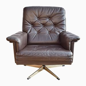 Danish Brown Leather Swivel Easy Lounge Armchair, 1970s
