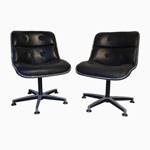 Black Leather and Chrome Desk Chairs by Charles Pollock, 1970s, Set of 2